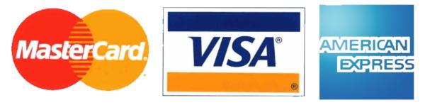 MasterCard, Visa & American Express accepted.